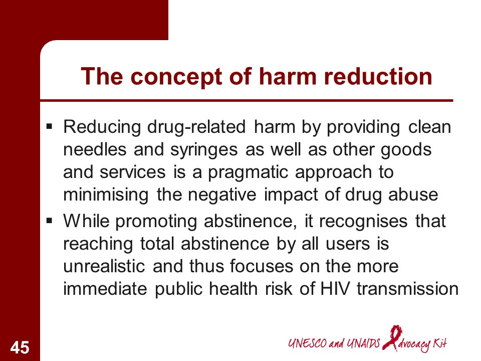 The concept of harm reduction