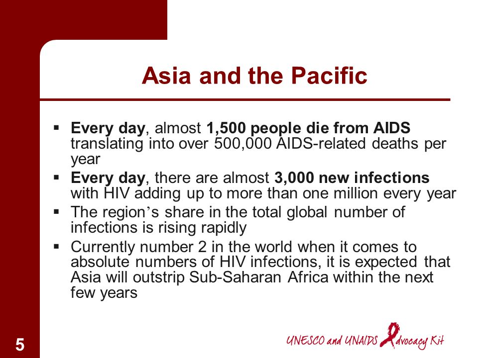 Asia and the Pacific Every day, almost 1,500 people die from AIDS translating into over 500,000 AIDS-related deaths per year.