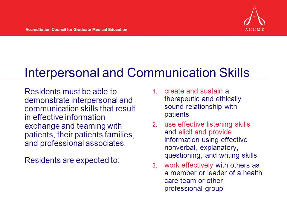 Interpersonal and Communication Skills