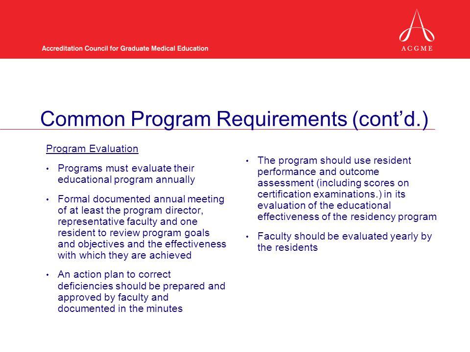 Common Program Requirements (cont'd.)