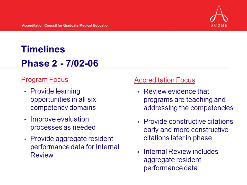 Timelines Phase 2 - 7/02-06 Program Focus Accreditation Focus