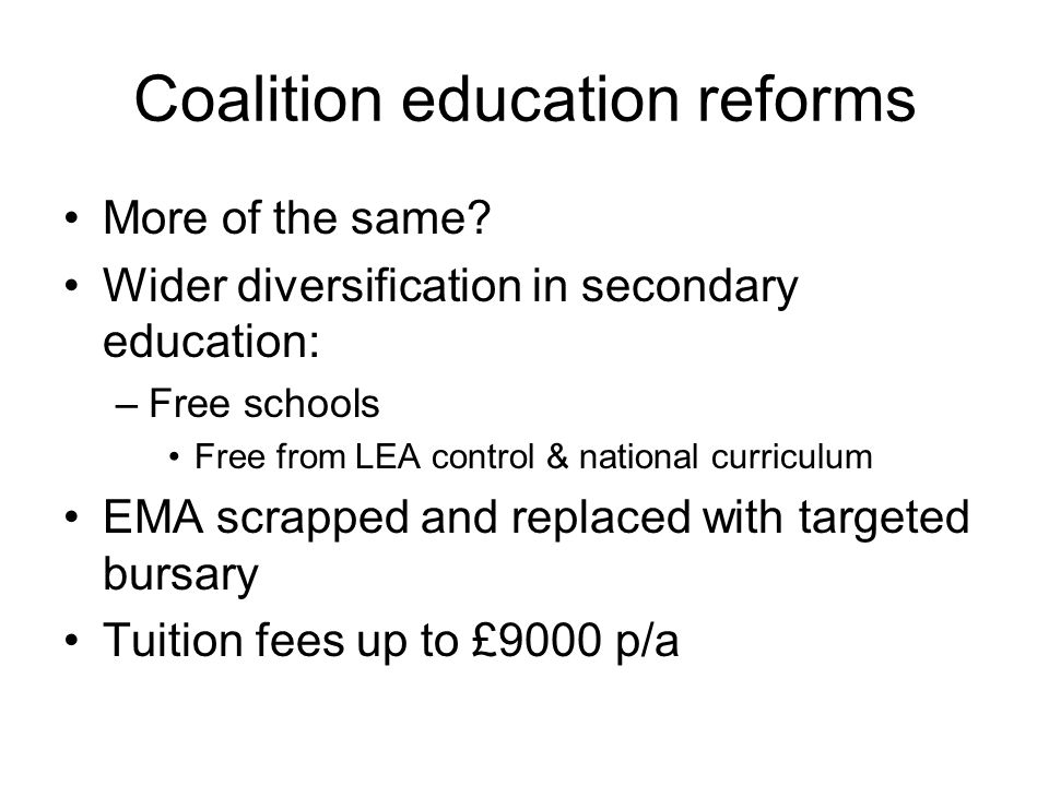 Coalition education reforms