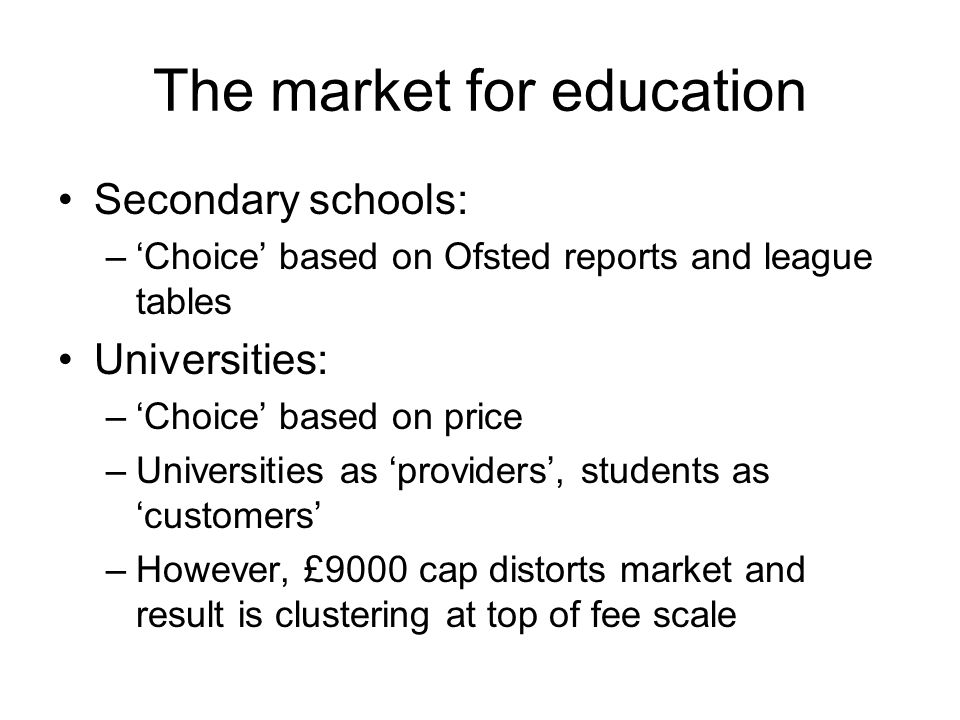 The market for education