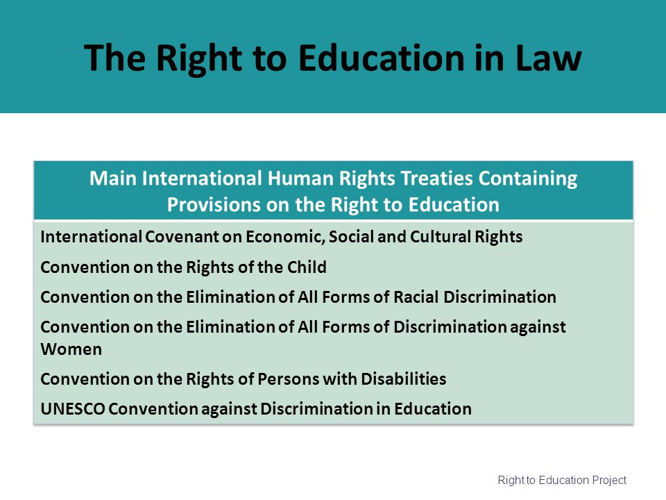 The Right to Education in Law