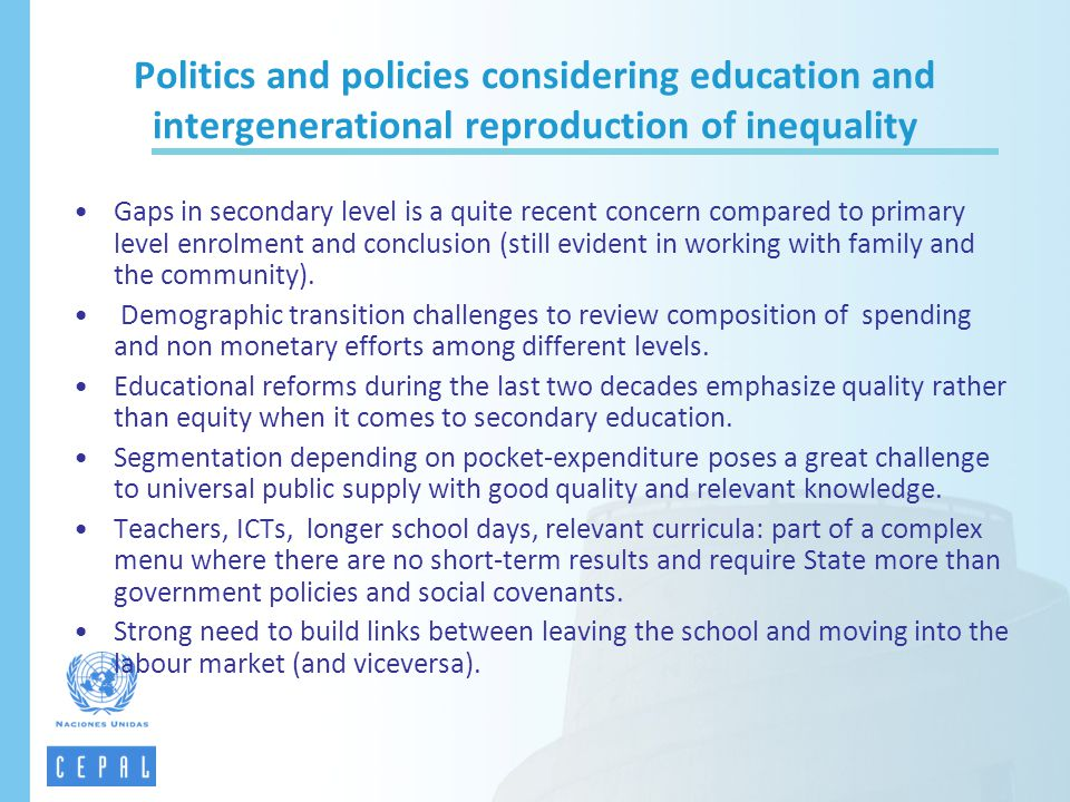 Politics and policies considering education and intergenerational reproduction of inequality
