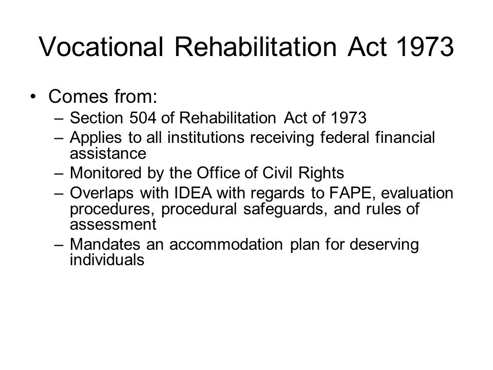 Vocational Rehabilitation Act 1973