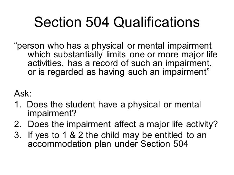 Section 504 Qualifications