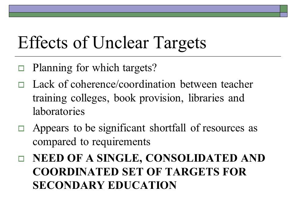 Effects of Unclear Targets