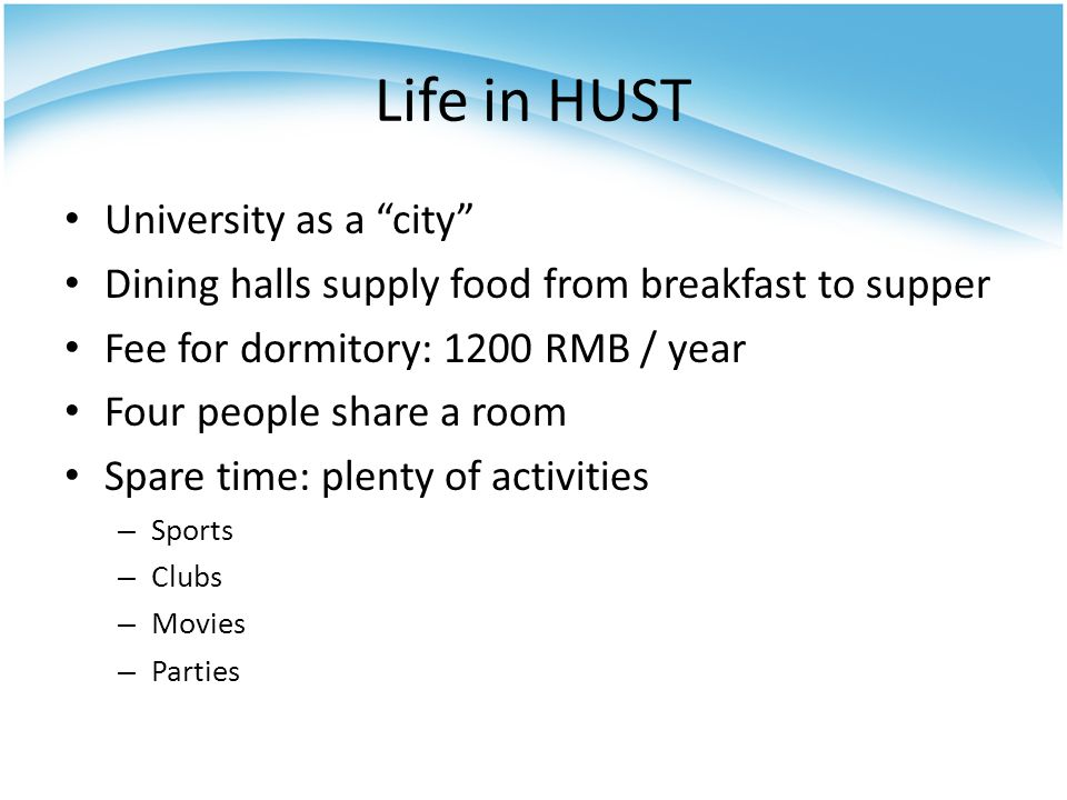 Life in HUST University as a city