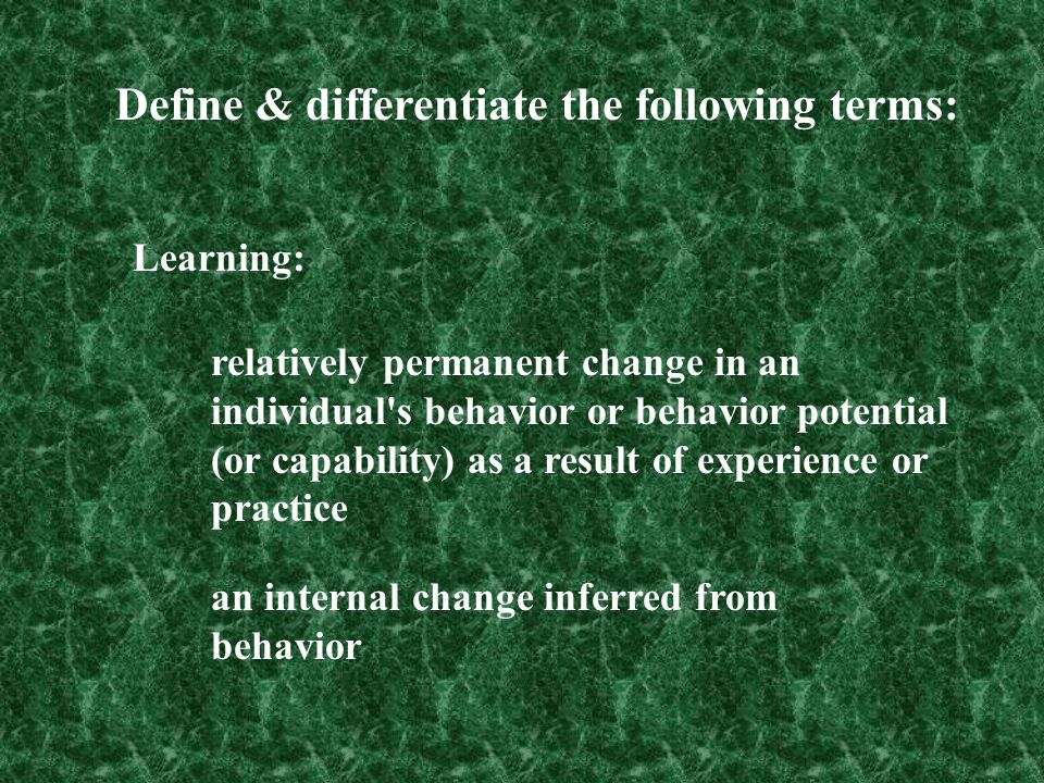 Define & differentiate the following terms: