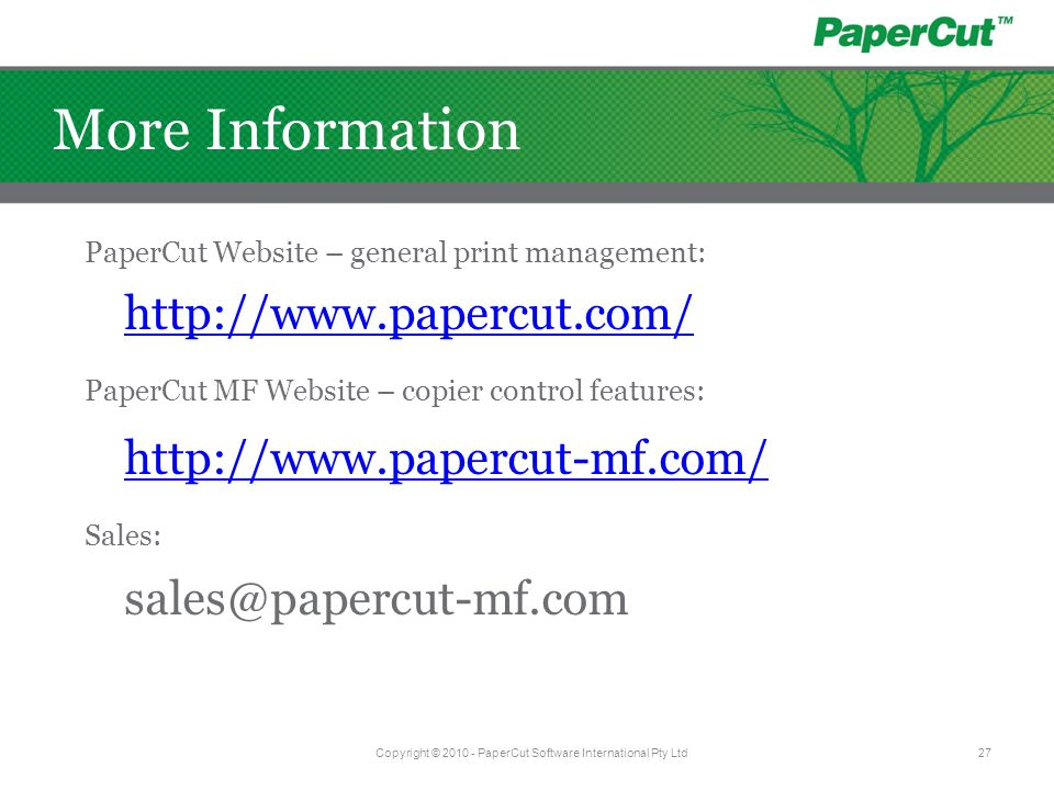 Copyright © 2010 - PaperCut Software International Pty Ltd