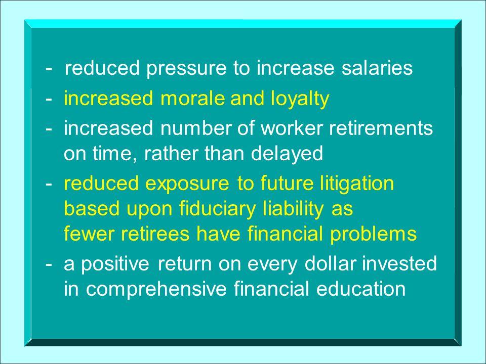 - reduced pressure to increase salaries