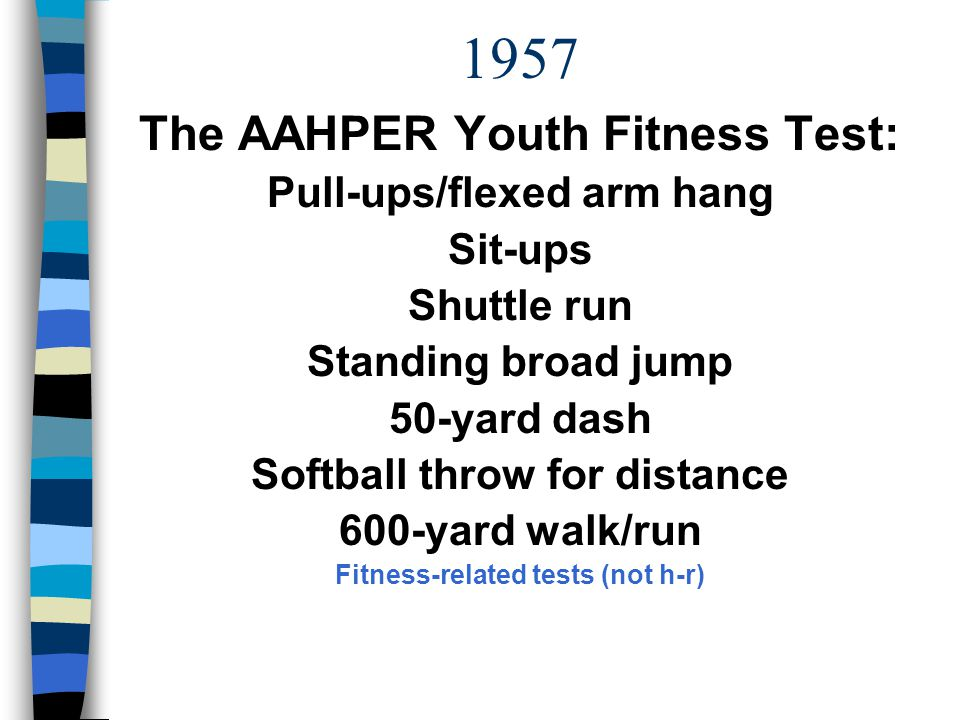 1957 The AAHPER Youth Fitness Test: Pull-ups/flexed arm hang Sit-ups