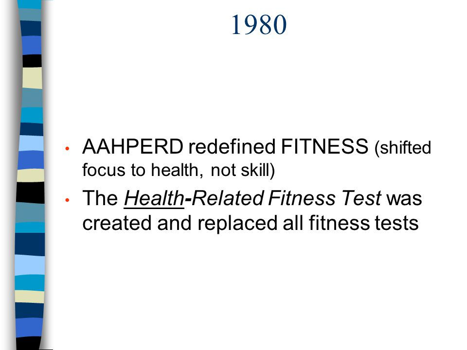 1980 AAHPERD redefined FITNESS (shifted focus to health, not skill)