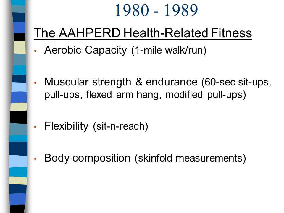1980 - 1989 The AAHPERD Health-Related Fitness
