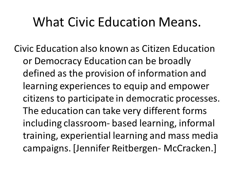 What Civic Education Means.