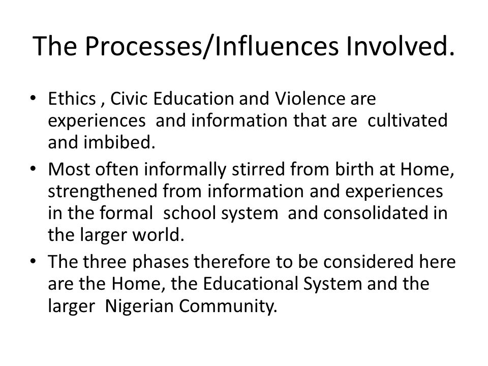 The Processes/Influences Involved.