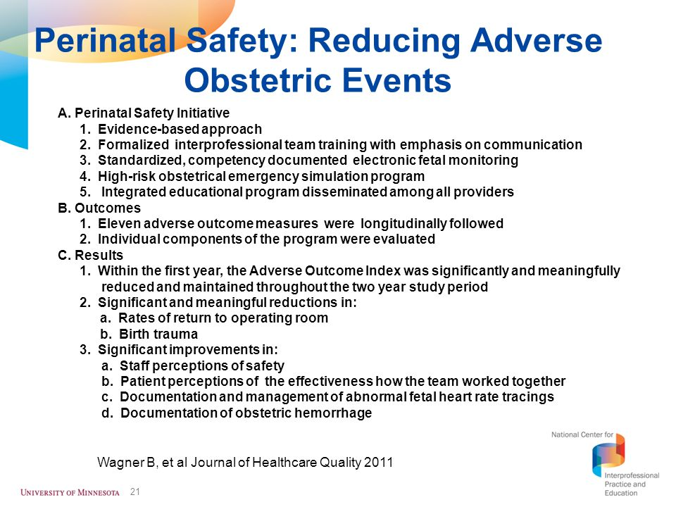 Perinatal Safety: Reducing Adverse Obstetric Events