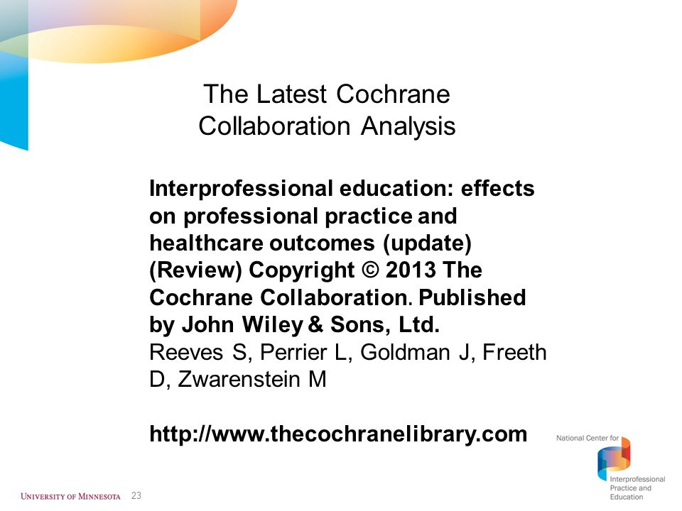 The Latest Cochrane Collaboration Analysis