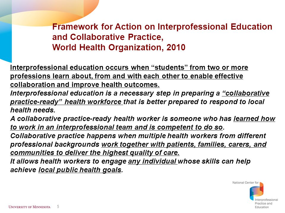 Framework for Action on Interprofessional Education and Collaborative Practice, World Health Organization, 2010