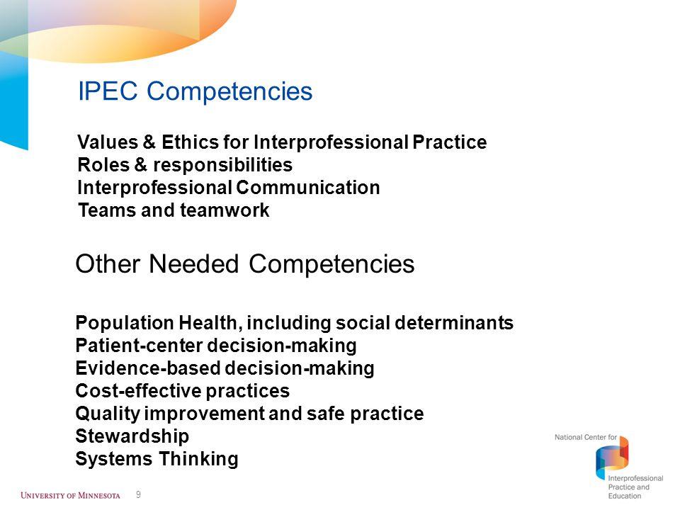 Other Needed Competencies