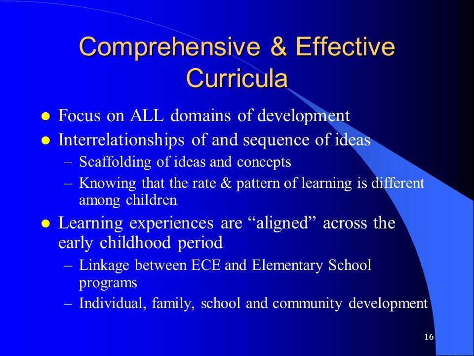 Comprehensive & Effective Curricula