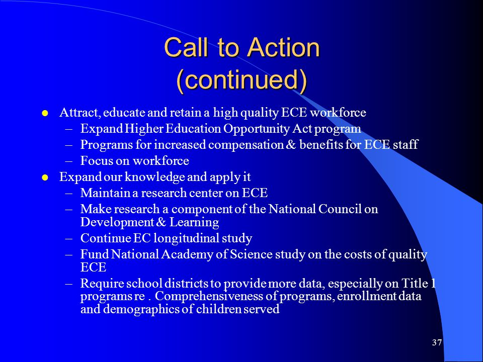 Call to Action (continued)