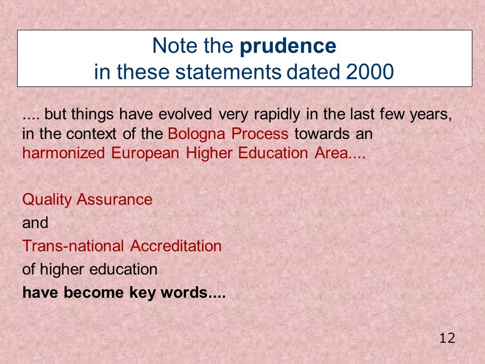 Note the prudence in these statements dated 2000