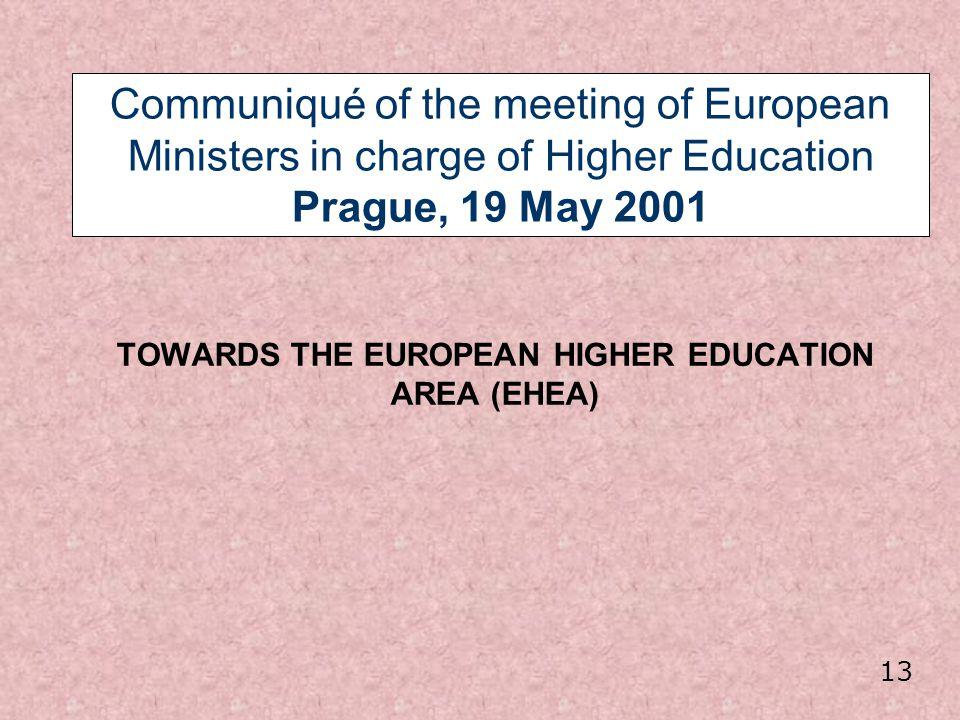 TOWARDS THE EUROPEAN HIGHER EDUCATION AREA (EHEA)