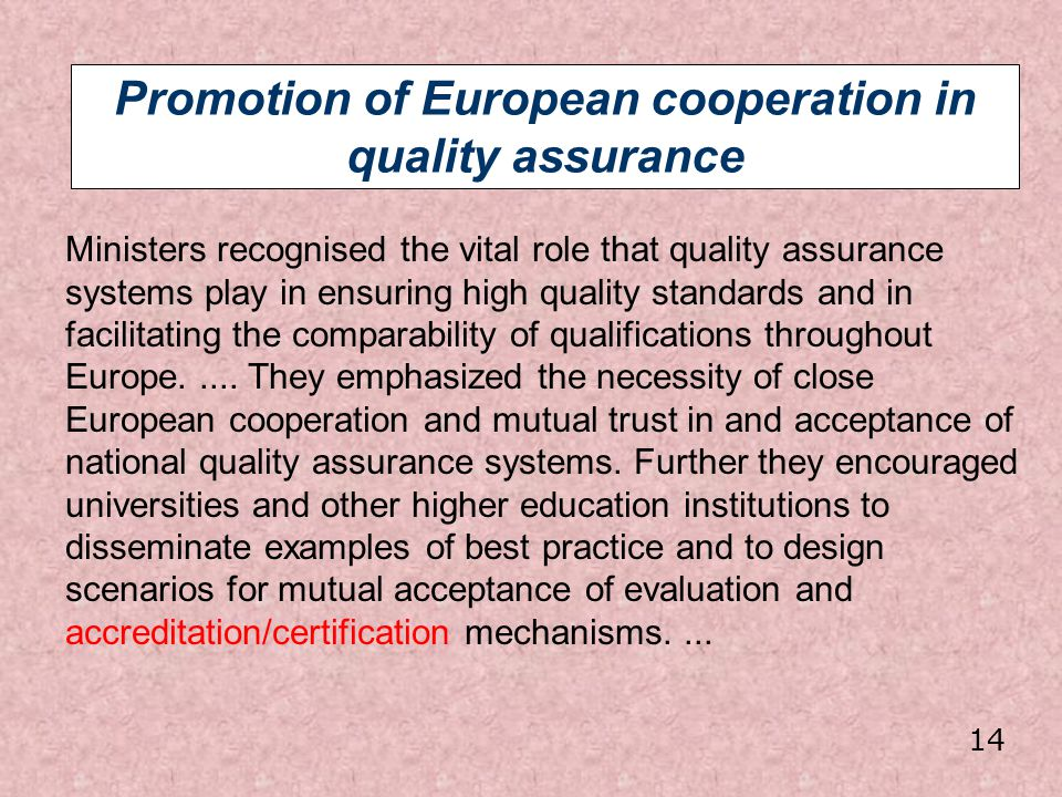 Promotion of European cooperation in quality assurance