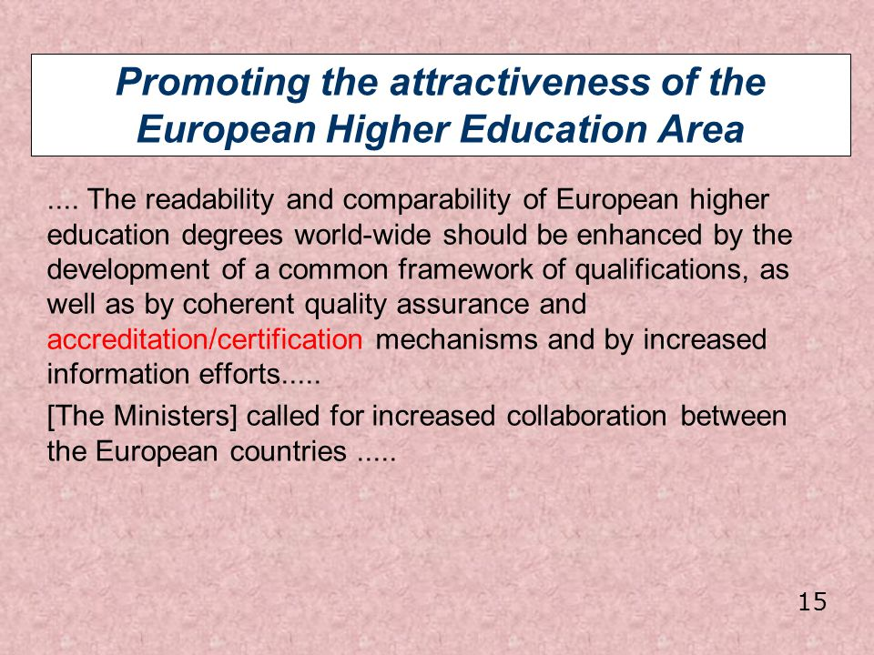 Promoting the attractiveness of the European Higher Education Area