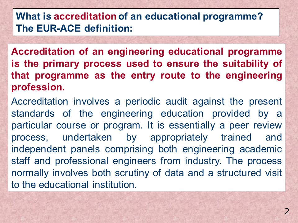 What is accreditation of an educational programme