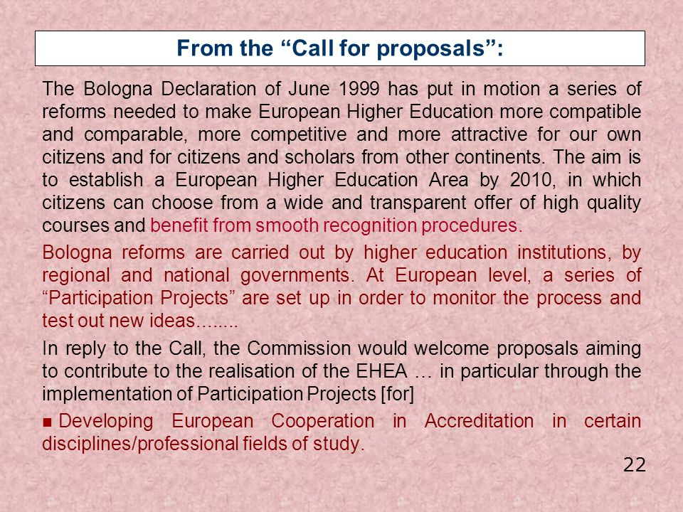 From the Call for proposals :