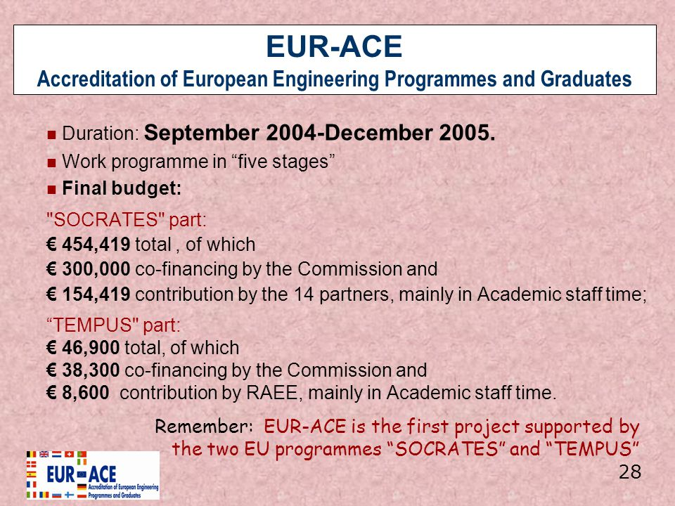 EUR-ACE Accreditation of European Engineering Programmes and Graduates