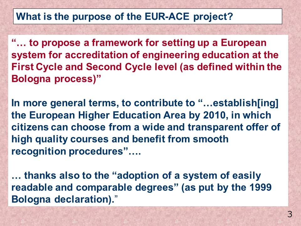 What is the purpose of the EUR-ACE project