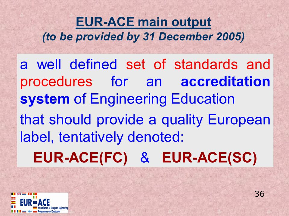 EUR-ACE main output (to be provided by 31 December 2005)