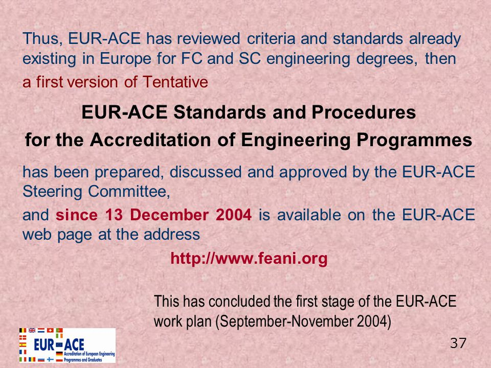 EUR-ACE Standards and Procedures