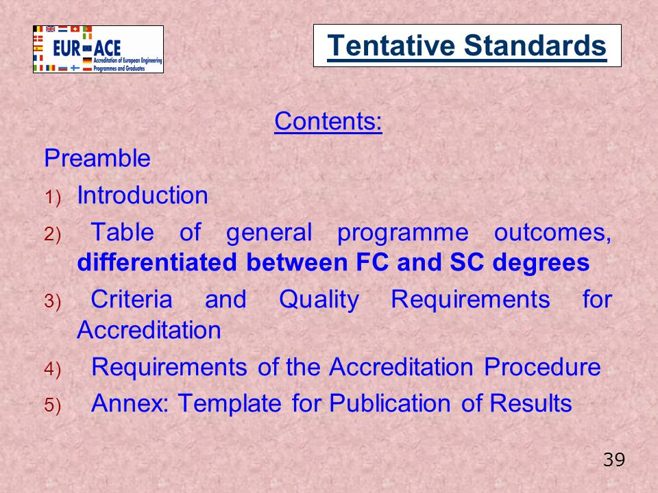 Tentative Standards Contents: Preamble Introduction