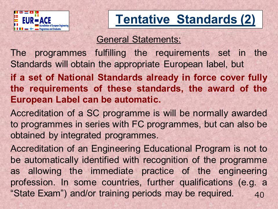 Tentative Standards (2)