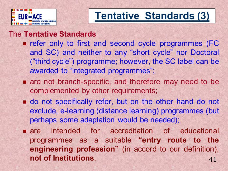 Tentative Standards (3)