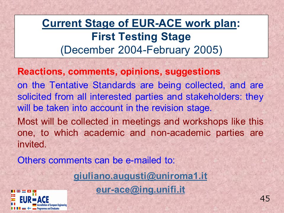 Current Stage of EUR-ACE work plan: First Testing Stage (December 2004-February 2005)
