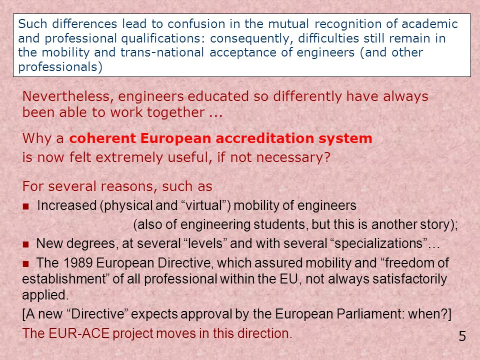 Why a coherent European accreditation system