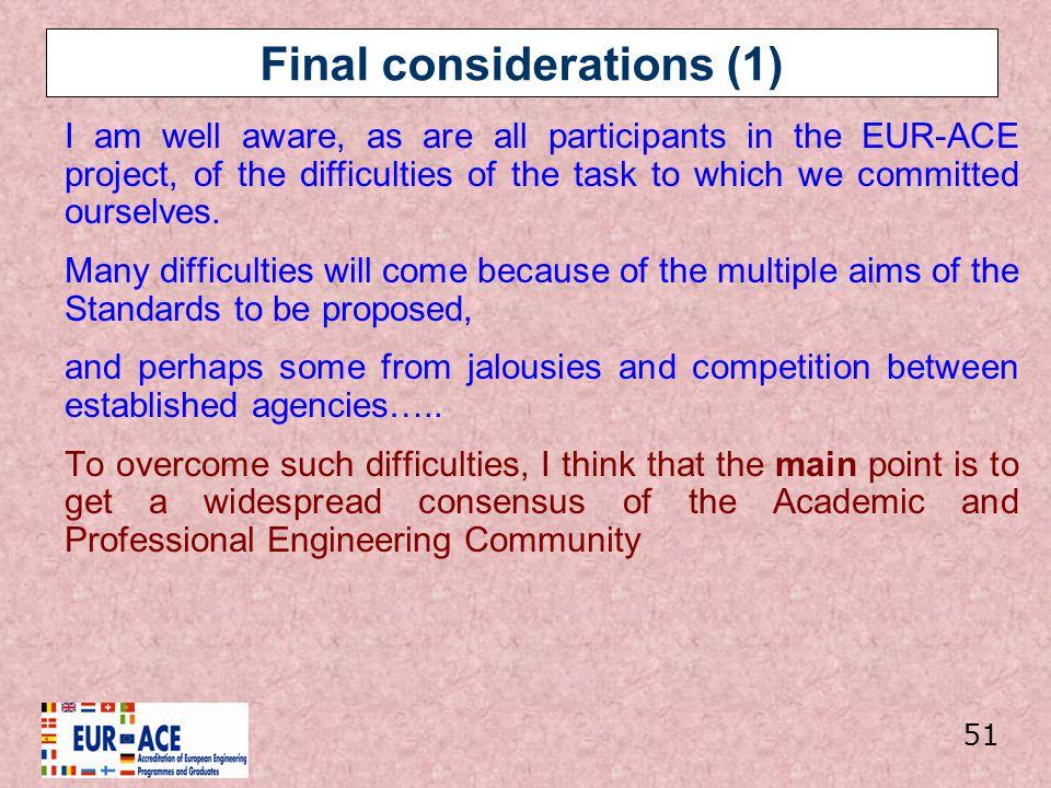 Final considerations (1)