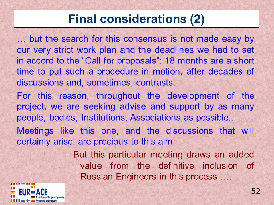 Final considerations (2)