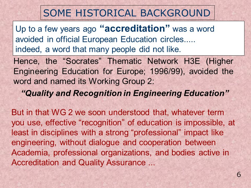Quality and Recognition in Engineering Education