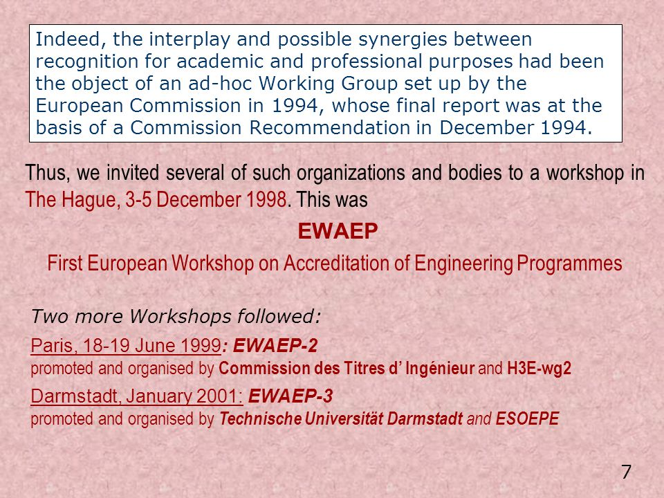First European Workshop on Accreditation of Engineering Programmes