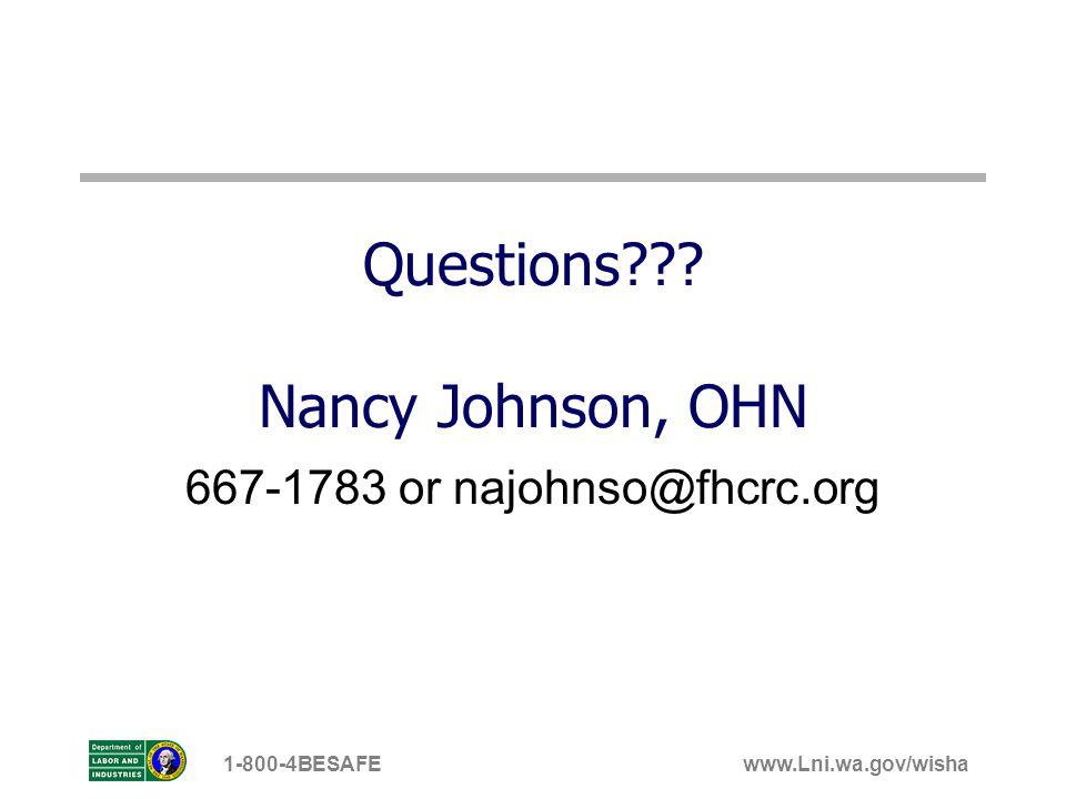 Questions Nancy Johnson, OHN