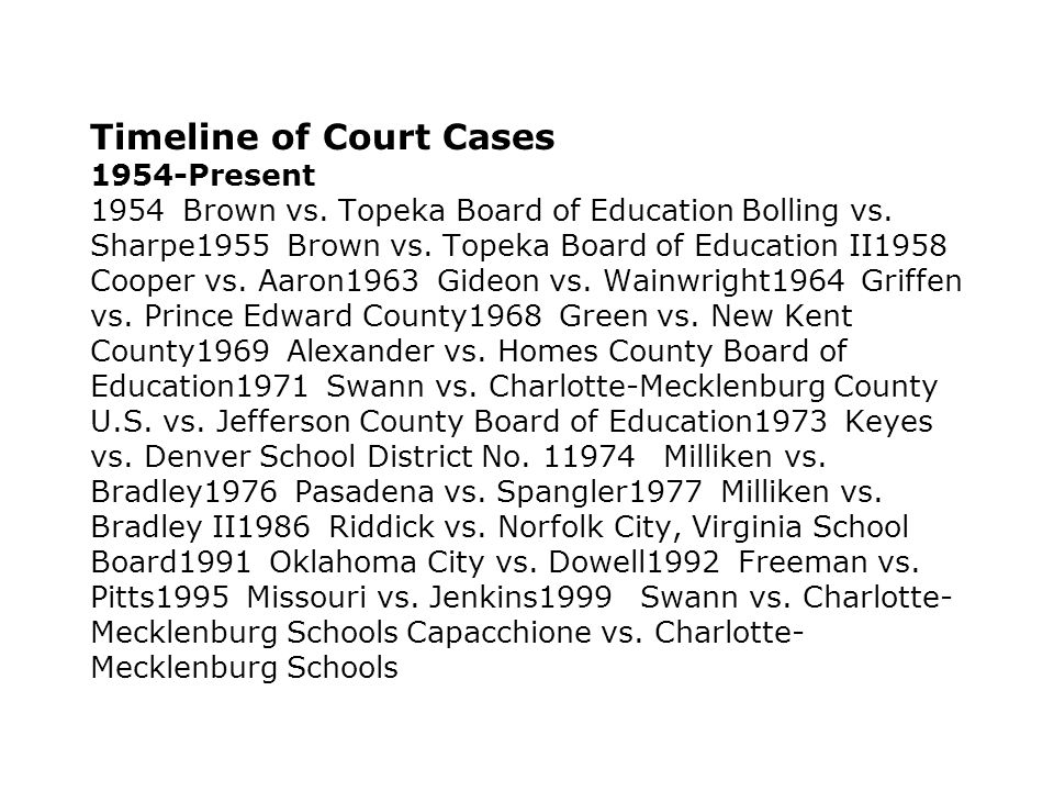 Timeline of Court Cases 1954-Present 1954 Brown vs