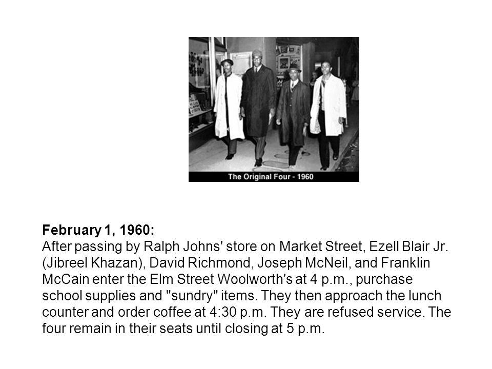 February 1, 1960: After passing by Ralph Johns store on Market Street, Ezell Blair Jr.