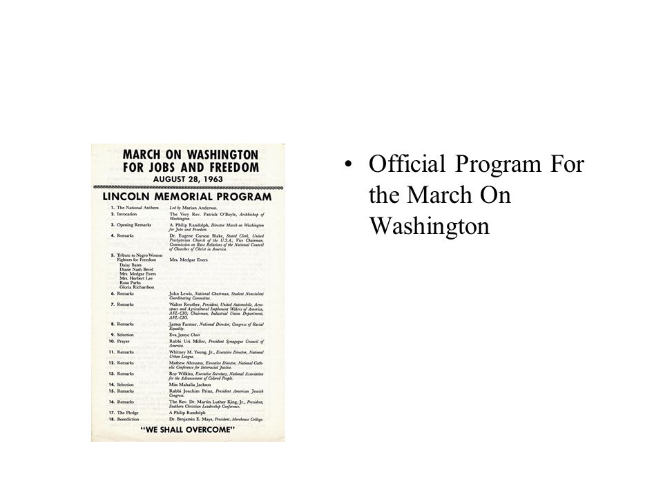 Official Program For the March On Washington